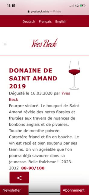Yves Beck note 88-90 le millésime 2019 du Domaine de Saint Amand Cadillac Côtes de Bordeaux