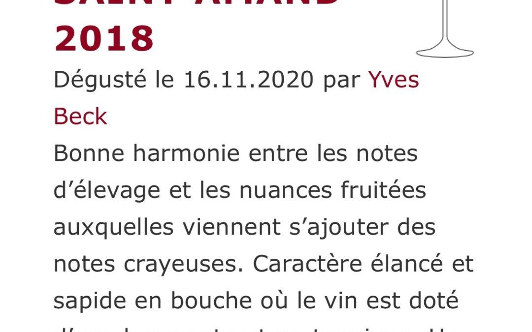 Yves Beck note 90/100 le millésime 2018 DSA du Domaine de Saint Amand